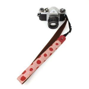 カメラストラップ 一眼レフ 和柄 デジカメストラップ 着物n38赤水玉