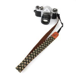 カメラストラップ 一眼レフ 和柄 デジカメストラップ 着物n47×墨小花|studio-ichi