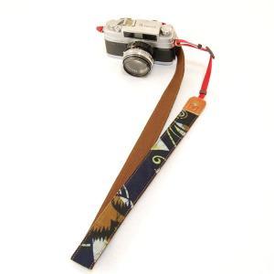 カメラストラップ 一眼レフ 和柄 デジカメストラップ 着物n17藍獣