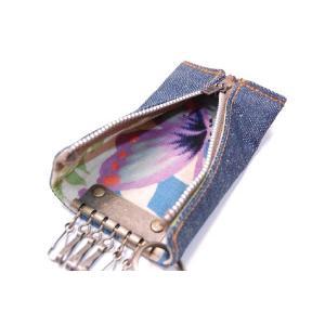 麻混デニムと着物のラフキーケース!【3・蝶々】ラフに使用出来る和柄ジップキーケース!|studio-ichi