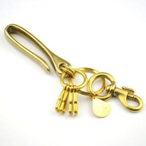 真鍮 キーホルダー メンズ キーケース 雫柄ベルトフック|studio-ichi