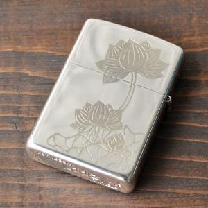 純銀 ZIPPO 和柄 蓮柄 シルバー ジッポライター 花柄 蓮 和風 高級 スターリングシルバー|studio-ichi