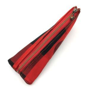 着物 和柄 ペンケース 筆箱 赤黒四角|studio-ichi