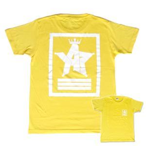 Tシャツ ロゴ カットソー 半袖 イエロー 130〜XXL デザイン プリント オリジナル メール便可 CROWN STAR「イエロー」|studiojam