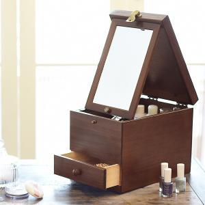 メイクボックス 日本製 木製化粧箱 ミラー付 大容量...