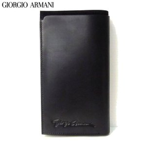 GIORGIO ARMANI ジョルジオ アルマーニ サインロゴ コンチネンタル 長財布 ブラック ...