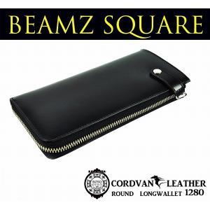 送料無料 BEAMZSQUARE ビームズスクエア 馬革コードバンL字ZIPロングウォレット ブラック|style-on-stage