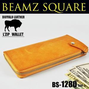 送料無料 BEAMZSQUARE ビームズスクエア バッファローレザー(水牛革)L字ZIPロングウォレット キャメル|style-on-stage