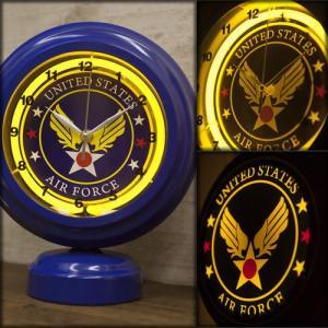 テーブルトップネオンクロック U.S. Airforce レトロ雑貨 ガレージ看板 アメリカ style-on-stage