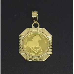 K24 アクセサリー ホースコイン ペンダント 24金 ゴールド 誕生日プレゼント 贈り物 ギフト BOX付|style-on-stage