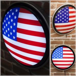 ラウンドウォールランプ US Flag レトロ雑貨 ガレージ看板 アメリカ style-on-stage