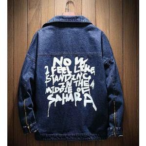 メンズ デニム ジャケット 長袖 おしゃれ ファッション カジュアル ダークブルー|style-on-stage