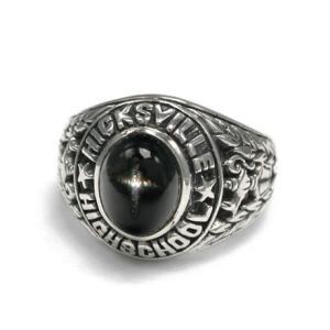送料無料 シルバーアクセサリー 純銀 シルバー925 リング 指輪 カレッジリング ブラックスター 誕生日 プレゼント ギフト 贈り物 ギフトBOX付|style-on-stage