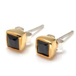 送料無料 シルバーアクセサリー 純銀 シルバー925 ピアス スクエアカット ゴールドカラー 誕生日 プレゼント ギフト 贈り物 ギフトBOX付 両耳用(2個セット) style-on-stage