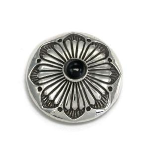 送料無料 シルバーアクセサリー 純銀 シルバー925 シルバーコンチョ 28.5mm 菊紋 オニキス ネジ式|style-on-stage