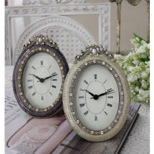 スタイルロココ エナメルストーンの置時計♪ (オーバル型) アンティーク風 シャビーシック フレンチカントリー テーブルクロック アンティーク 雑貨 antique french country