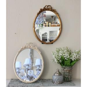 プリマリボンのミラー(ホワイト・ゴールド)壁掛け・卓上両用 ウォールミラー  可愛い アンティーク風 シャビーシック フレンチカントリー テーブルクロック