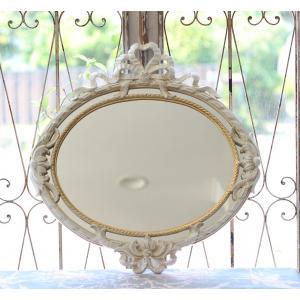 スタイルロココ リボンミラー・鏡 イタリア製 ホワイト×ゴールド ロココ調 シャビー 壁掛けミラー オーバル型