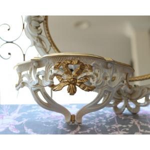 スタイルロココ リボンコンソール イタリア製 ホワイト×ゴールド ロココ調 シャビー 壁掛けシェルフ・棚