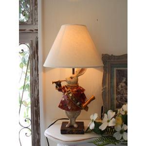 ウサギのランプ アリスラビットの卓上ランプ・テーブルランプ 置物 輸入雑貨 アンティーク 雑貨 シャビーシック アンティーク風 フレンチカントリー 25W|style-rococo