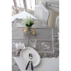 フランスから届くフレンチリネン テーブルクロス 85cm角 (リネングレー) 【Blanc de Paris】 トップクロス モノグラム刺繍 シャビーシック アンティーク風|style-rococo|04