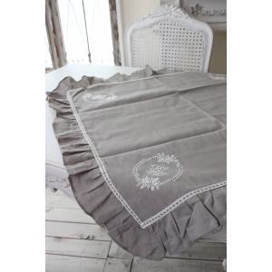 フランスから届くフレンチリネン テーブルクロス 85cm角 (リネングレー) 【Blanc de Paris】 トップクロス モノグラム刺繍 シャビーシック アンティーク風|style-rococo|06