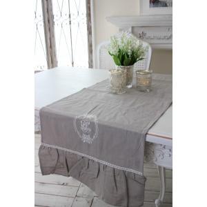 フランスから届くフレンチリネン(テーブルランナー(リネングレー)) 【Blanc de Paris】 テーブルセンター モノグラム刺繍 シャビーシック アンティー|style-rococo