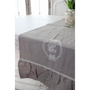 フランスから届くフレンチリネン(テーブルランナー(リネングレー)) 【Blanc de Paris】 テーブルセンター モノグラム刺繍 シャビーシック アンティー|style-rococo|02