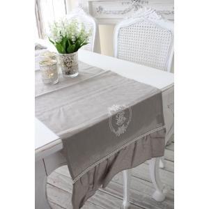 フランスから届くフレンチリネン(テーブルランナー(リネングレー)) 【Blanc de Paris】 テーブルセンター モノグラム刺繍 シャビーシック アンティー|style-rococo|03