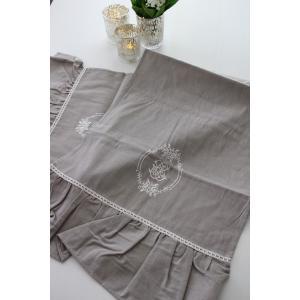 フランスから届くフレンチリネン(テーブルランナー(リネングレー)) 【Blanc de Paris】 テーブルセンター モノグラム刺繍 シャビーシック アンティー|style-rococo|04