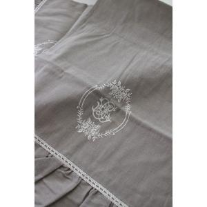 フランスから届くフレンチリネン(テーブルランナー(リネングレー)) 【Blanc de Paris】 テーブルセンター モノグラム刺繍 シャビーシック アンティー|style-rococo|05