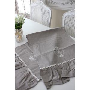 フランスから届くフレンチリネン(テーブルランナー(リネングレー)) 【Blanc de Paris】 テーブルセンター モノグラム刺繍 シャビーシック アンティー|style-rococo|06