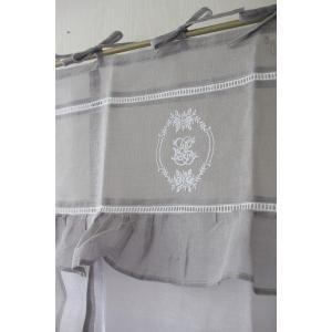 フランスから届くフレンチリネン(ウィンドウカーテン60×160・ホワイト×グレーフレーム) 【Blanc de Paris】 リボン調整 カフェカーテン のれん|style-rococo|04