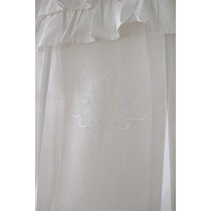 フランスから届くフレンチリネン(ウィンドウカーテン60×160・ホワイト×ホワイト2段フリル) 【Blanc de Paris】 リボン調整 カフェカーテン の|style-rococo|05