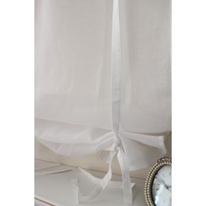 フランスから届くフレンチリネン(ウィンドウカーテン60×160・ホワイト×ホワイト2段フリル) 【Blanc de Paris】 リボン調整 カフェカーテン の|style-rococo|06