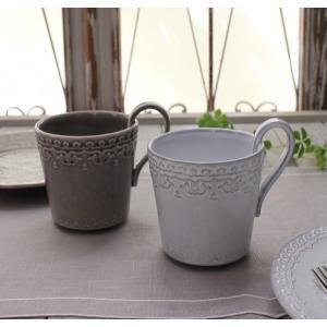 スタイルロココ アンティークな輸入食器 マグカップ マグ(RUA NOVA/GY/WH) ボルダロ・ピニェイロ ポルトガル製 おしゃれ シャビーシック アンティーク風 洋食器