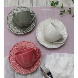 スタイルロココ アンティークな輸入食器 カップ&ソーサー C&S(リーフ&バード) ボルダロ・ピニェイロ ポルトガル製 おしゃれ シャビーシック アンティーク風 洋食器