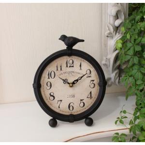 スタイルロココ アイアン製のバード置時計 (数字文字盤) 置時計 テーブルクロック 輸入雑貨 アンティーク調 アンティーク 雑貨 antique お洒落