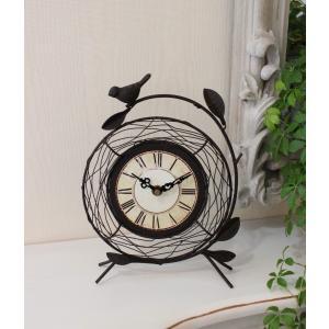 スタイルロココ アイアン製のワイヤーバード置時計 置時計 テーブルクロック 輸入雑貨 アンティーク調 アンティーク 雑貨 antique お洒落