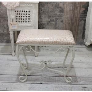 スタイルロココ ホワイトアイアン・スリムスツール(ピンクダマスク) スツール 椅子 コンパクト ホワイト アイアン製 シャビーシック アンティーク 雑貨 アンティーク風 輸入雑貨 antique shabby chic
