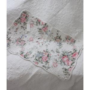 スタイルロココ トリアノン フラワーキルト マット(50×80cm)キッチンマット  キルティング 布製 アンティーク風 フレンチカントリー シャビーシック 綿100%