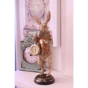 バロッククロック・ラビット ウサギの置時計 置物 シャビー 北欧 フレンチ ロマンティック 可愛い ロココ調 輸入雑貨|style-rococo