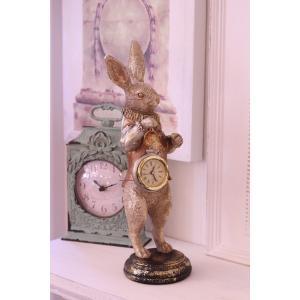 バロッククロック・ラビット ウサギの置時計 置物 シャビー 北欧 フレンチ ロマンティック 可愛い ロココ調 輸入雑貨|style-rococo|02