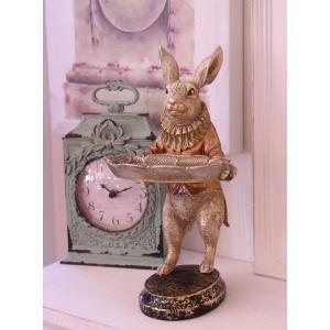 バロックトレイ・ラビット ウサギの置物 シャビー 北欧 フレンチ ロマンティック 可愛い ロココ調 ...