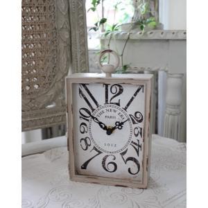 PARIS・レクトスチールクロック(ベージュ)♪ 置時計 シャビーシック フレンチカントリー アンティーク 雑貨 アンティーク風 姫系 antique|style-rococo