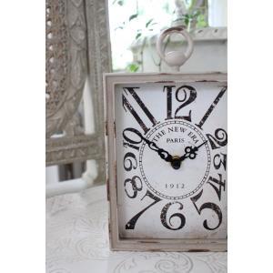 PARIS・レクトスチールクロック(ベージュ)♪ 置時計 シャビーシック フレンチカントリー アンティーク 雑貨 アンティーク風 姫系 antique|style-rococo|02