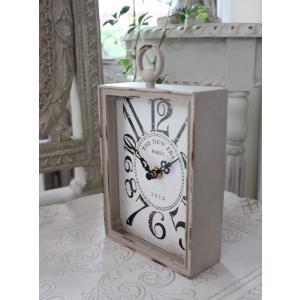 PARIS・レクトスチールクロック(ベージュ)♪ 置時計 シャビーシック フレンチカントリー アンティーク 雑貨 アンティーク風 姫系 antique|style-rococo|03