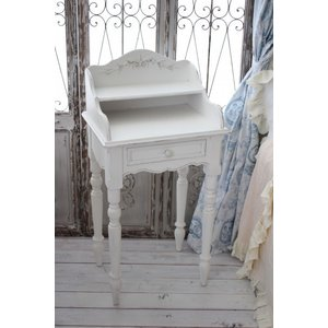 カントリーコーナー 【Country Corner】 ROMANCE ロマンス・コレクション ナイトテーブル ベッドサイドテーブル 飾り棚付き フランス 白家具 チェスト アンテ