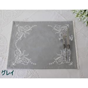 刺繍が素敵なランチョンマット(コットン・4色) 35×45cm テーブルセンター プレースマット 敷物 フレンチシック 輸入雑貨 アンティーク風 シャ|style-rococo|05