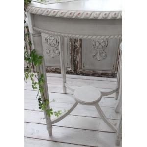 NEW♪ フランス家具 ティーテーブル・アンティークベージュ 机 円形 花台 飾り台 木製 シャビーシック アンティーク調 フレンチカントリー フレンチ|style-rococo|04